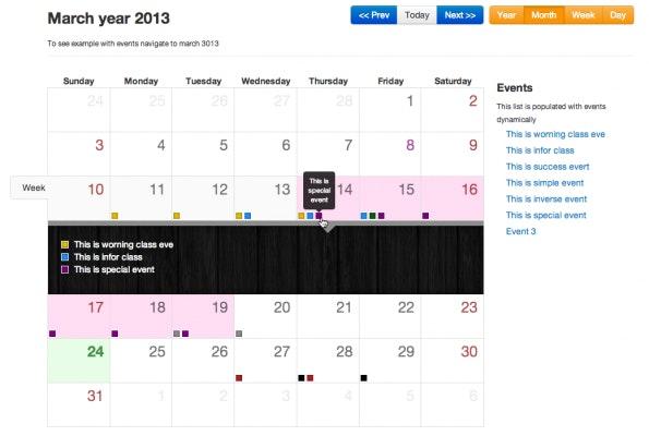 Der Bootstrap Calendar sorgt für eine Kalenderdarstellung in Bootstrap. (Screenshot: Bootstrap-Calendar)