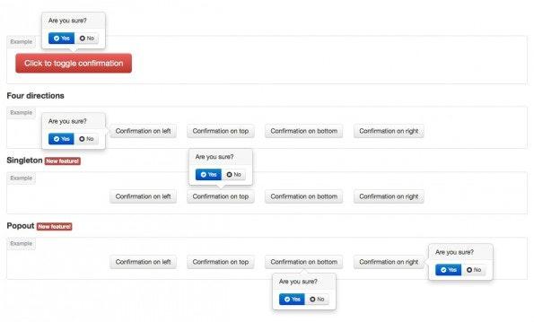Aktionen sollen bestätigt werden? Kein Problem mit Bootstrap Confirmation. (Screenshot: Bootstrap Confirmation)