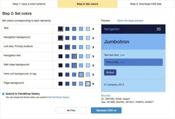 Mit PaintStrap lassen sich Farbschemen einfach in Bootstrap umsetzen. (Screenshot: PaintStrap)