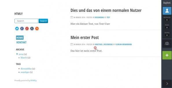 So sieht Bugherd auf der Website aus. (Screenshot: Test-Blog)
