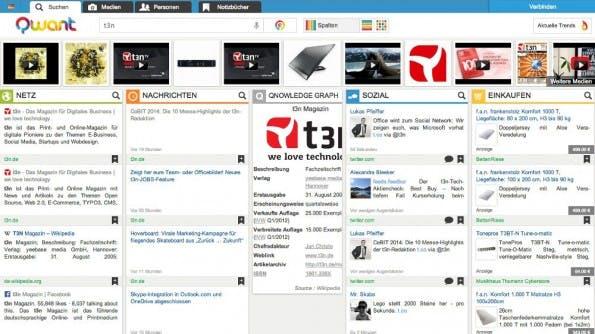 Google-Alternative: Die Darstellung von Suchergebnissen bei Qwant ist ungewöhnlich. (Screenshot: Qwant)