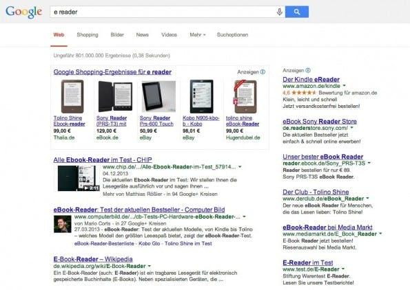 """Rich Snippets bei den Suchergebnissen zum Keyword """"e reader"""". (Screenshot: t3n.de)"""