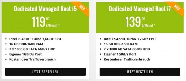 Die Angebote von hostNET. (Screenshot: hostNET)