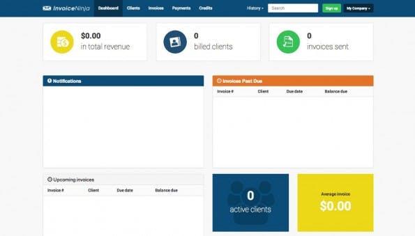 Online-Rechnung: Das Dashboard von Invoice Ninja gibt einen schnellen Überblick. (Screenshot: Invoice Ninja)