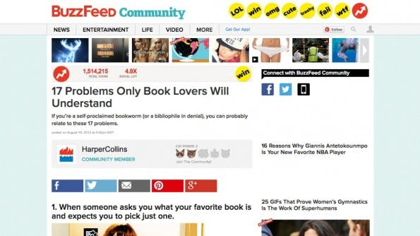 Ein Artikel von und für Buchliebhaber von HarperCollins auf Buzzfeed. (Screenshot: buzzfeed.com)