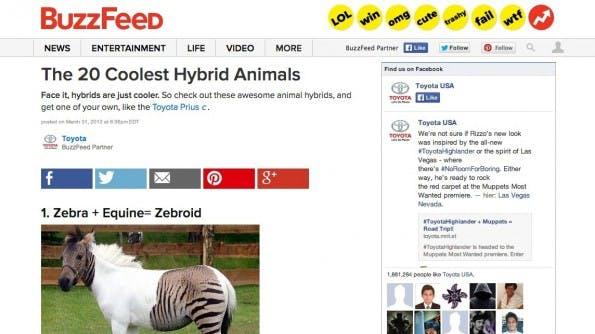 Native Advertising auf Buzzfeed. (Screenshot: buzzfeed.com)