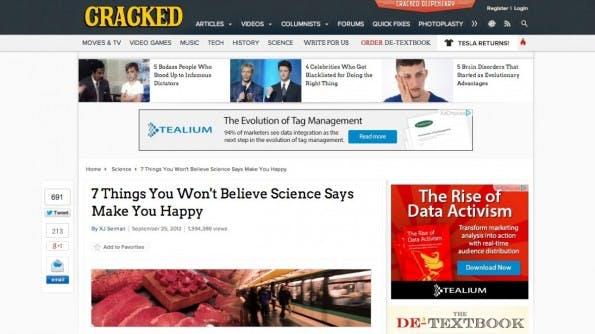 Cracked versteckt den eigentlichen Sponsor des Beitrags am Ende des Artikels. (Screenshot: cracked.com)