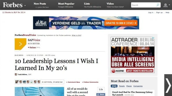 Native Advertising von SAP auf Forbes.com. (Screenshot: forbes.com)