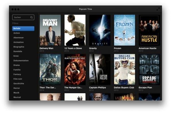 Popcorn Time bietet die neusten Hollywood-Spielfilme in HD-Qualität – illegalerweise. (Screenshot: Popcorn Time)