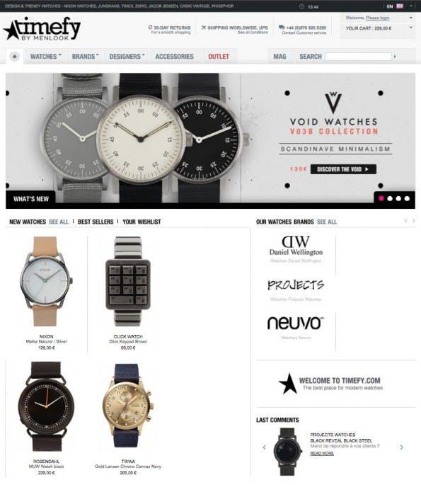 EIn Beispielshop auf Basis des Shopsystems Prestashop ist timefy.com. (Screenshot: Timefy.com)