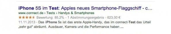 Das Rich Snippet für Bewertungen. (Screenshot: t3n.de)