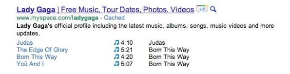 Das Rich Snippet für Musikangebote. (Foto: Google)