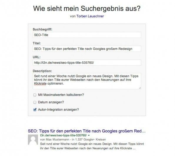 SEO: das Title-Preview-Tool von Torben Leuschner. (Screenshot: torbenleuschner.de)