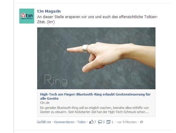 Wenn die Vorschaubilder das richtige Seitenverhältnis haben, ist auch das Ergebnis in der Facebook-Timeline schön. (Screenshot: Facebook)