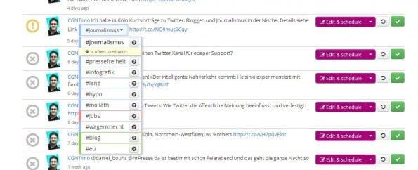 Diese Hashtags hätte man auch nutzen können - und damit eine größere Reichweite erzielt. (Screenshot: RiteTag)