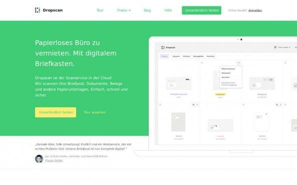 Startups auf der CeBIT: Dropscan aus Berlin will das papierlose Büro mit einem digitalen Postkasten verwirklichen. (Screenshot: Dropscan)