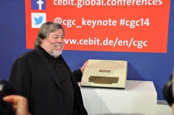 "Steve Wozniak auf der CeBIT: ""minutiös durchgetakteter Tag."" (Foto Johannes Schuba)"