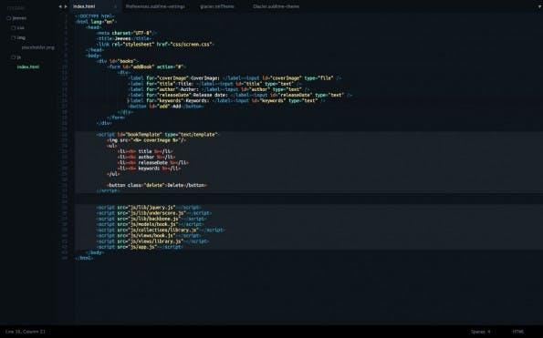 Das Glacier-Theme für Sublime Text. (Screenshot: longren.io)