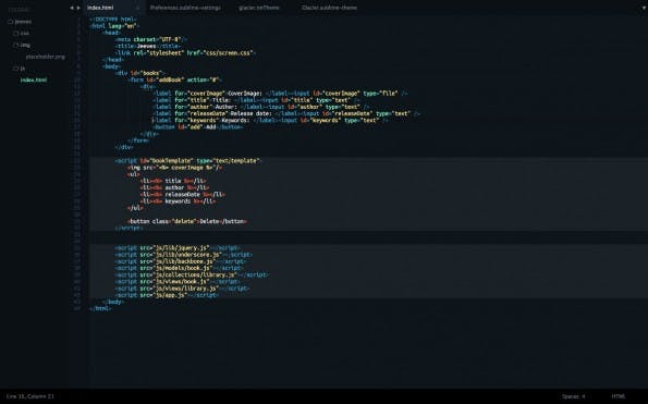 Das Glacier-Theme für Sublime Text. (Screenshot: longren.io)