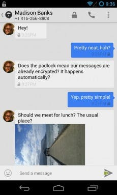 Die Chat-Ansicht von Text-Secure. (Screenshot: Open Whisper Systems)