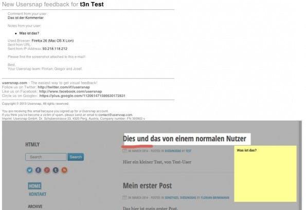 Feedback-Mail von Usersnap. (Screenshot: Mail)