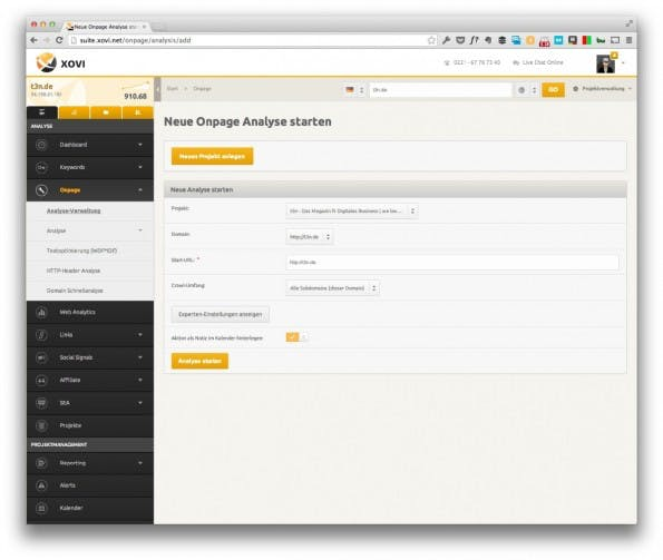 Das Crawling größerer Websites kann dauern. (Screenshot: xovi.net)
