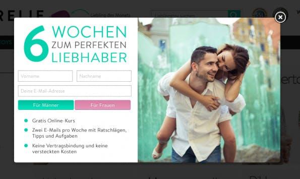 """""""Retargeting ist bei uns nur eingeschränkt möglich:"""" Amorelie setzt auf emotionale Banner. (Screenshot: amorelie.de)"""