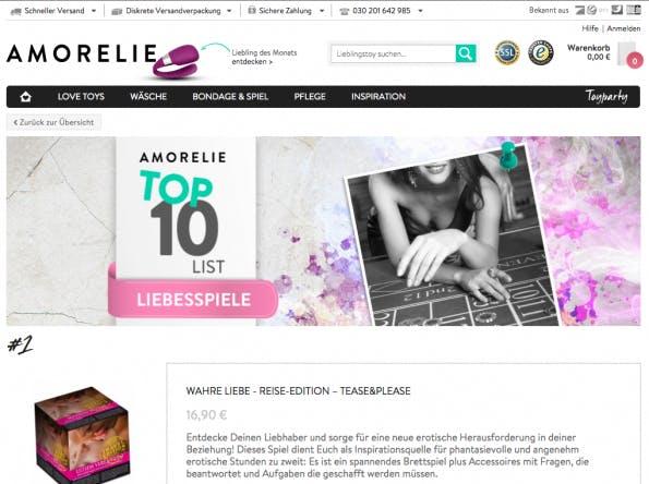 Mit Bestsellerlisten und einem Toy-Finder bietet Amorelie Orientierung für Neueinsteiger. (Screenshot: amorelie.de)