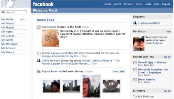 Facebook-Newsfeed: Erste Version aus dem Jahr 2006. (Screenshot: hotdigitalnews.com)