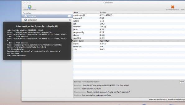 Cakebrew für Homebrew: Zusatzinformationen zum Ruby-Package. (Screenshot: Cakebrew)