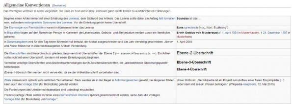 Wie ein Content-Style-Guide aussehen kann, zeigen die Formatierungsrichtlinien der Wikipedia. (Screenshot: Wikipedia)