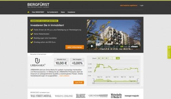 Die Berliner Plattform Bergfürst hat sich inzwischen zur Startup-Börse gemausert. Urbanara zeigt, wie es gehen kann. (Screenshot: t3n)