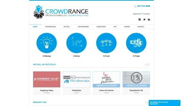 Crowdrange macht seinem Namen alle Ehre und bietet Investing-Modelle aller Art. Vom Startup bis zum Sponsoring. (Screenshot: t3n)