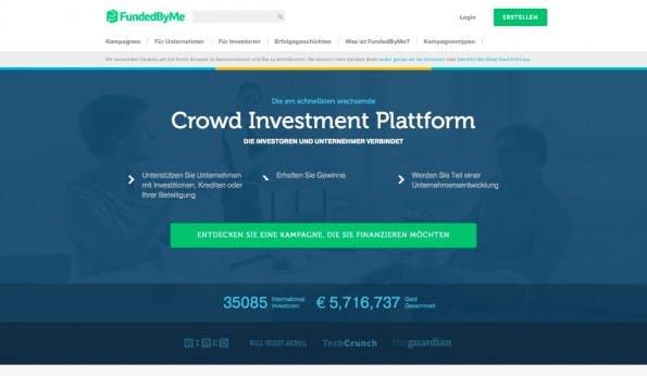 Das schwedische Portal fundedbyme ist seit kurzem in Deutschland aktiv und kombiniert Crowdfunding und Crowdinvesting. (Screenshot: t3n)