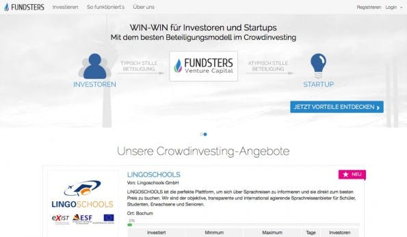 Der Name Fundsters klingt groß, dabei kommt die deutsche Plattform, die schon 730.000 Euro gesammelte hat, aus Meerbusch bei Krefeld. (Screenshot: t3n)
