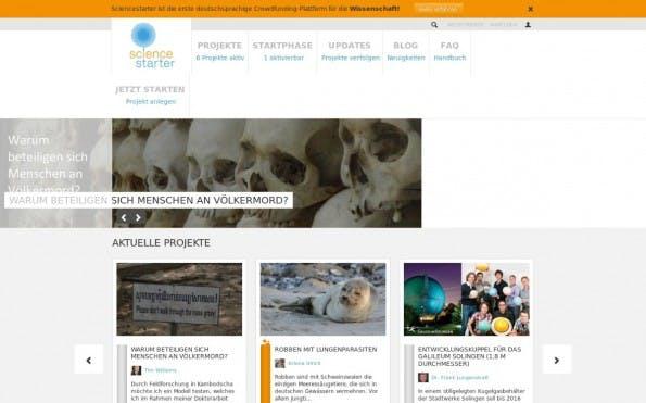 Auf Science Starter können Fans Forschungsprojekte anschieben und zum Beispiel exklusive Führungen ergattern. (Screenshot: t3n)