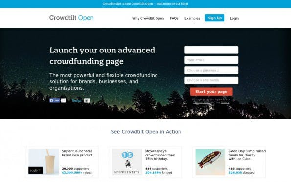 """Die quelloffene Software Crowdtilt Open ist das """"Wordpress für Crowdfunding-Kampagnen"""". (Screenshot: t3n)"""