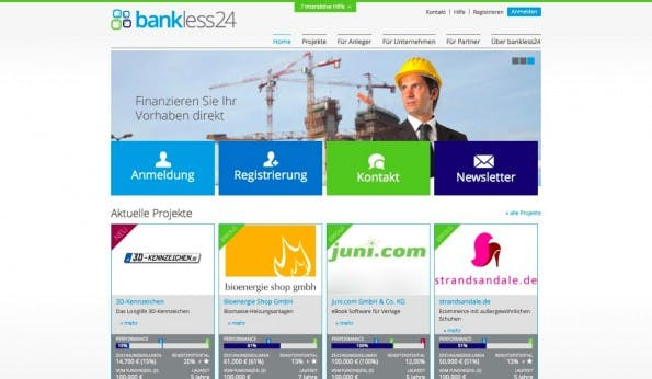 Mit Bankless24 finden auch mittelständische Unternehmen einen Platz an der Crowdinvesting-Sonne. (Screenshot: t3n)
