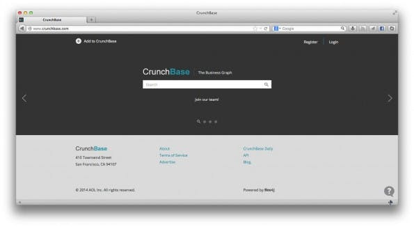 Crunchbase 2.0: Die neue Version der Startup-Datenbank. (Screenshot: Crunchbase)