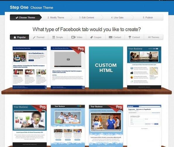 Pagemodo bietet viele Möglichkeiten für Facebook-Seiten. (Screenshot: Pagemodo)