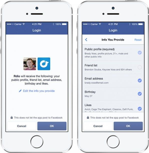 Beim Nutzen des Facebook-Logins kann der Nutzer die Berechtigungen nun sehr genau vergeben. (Quelle: Facebook)