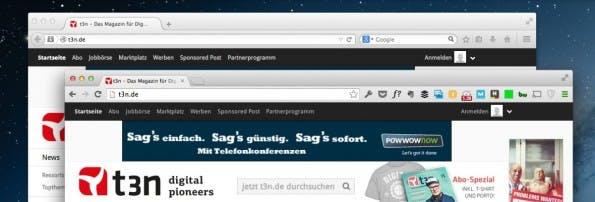 Firefox (oben) und Chrome (unten) im direkten Vergleich. (Screenshot: t3n)