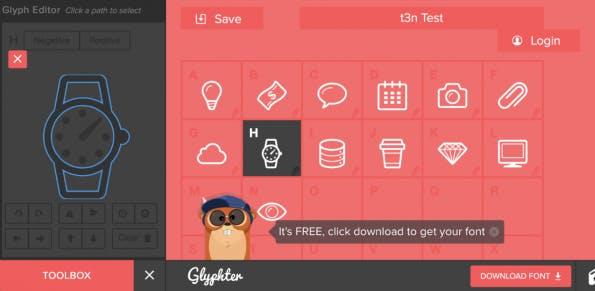 Glyphter Editor Screenshot