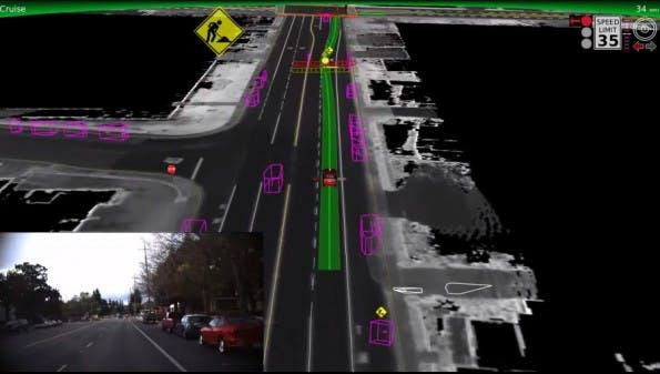 Google: Die selbstfahrenden Autos des Konzerns wagen sich jetzt auch in den Stadtverkehr. (Screenshot: YouTube)