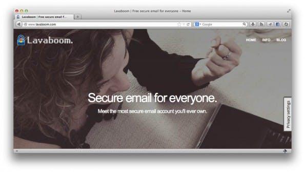 Lavaboom: Der deutsche Anbieter will auch Laien zu verschlüsselten E-Mail verhelfen. (Screenshot: Lavaboom)
