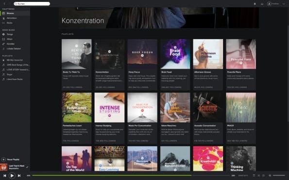 Obwohl primär ein Unterhaltungsdienst, gibt es auch bei Spotify zahlreiche Playlisten, die auf das produktive Arbeiten ausgelegt sind. (Screenshot: Spotify)