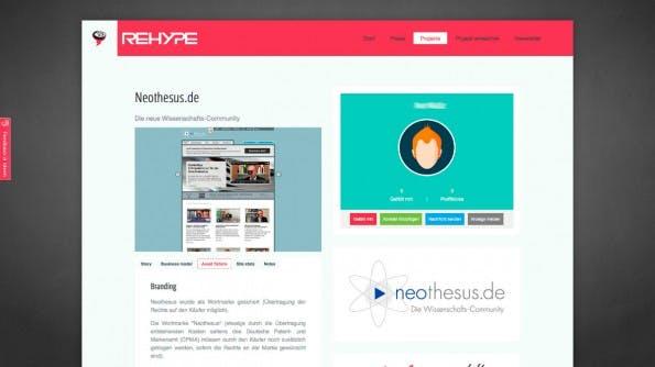 Bei Rehype.it werden Startups und Projekte zu Festpreisen und nur mit Qualitätskontrolle gehandelt: Urheber erhalten Geld, Käufer eine Idee und die Plattform eine Provision. (Screenshot: Rehype.it)