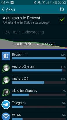 Bei normaler Beanspruchung kommt man mit dem Akku gut über etwa 1,5 Tage. (Screenshot: Galaxy S5)