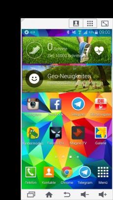 Der Modus für die Einhandbedienung hilft, das Smartphone mit nur einer Hand zu bedienen. (Screenshot: Galaxy S5)