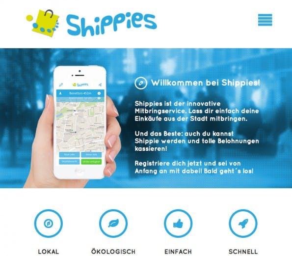 Der Crowd-Delivery-Dienst Shippies startet mit seinem Pilotprojekt in Kürze in Frankfurt am Main. (Screenshot: Shippies)